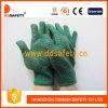 Тяжеловесные зеленые перчатки с черной картиной Dkp204 гребня PVC