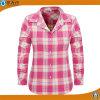 El algodón de la camisa de la franela de la camisa de tela escocesa de las mujeres de la manera remata las blusas