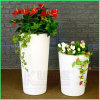 Bacs de fleur allumés solaires et bacs de fleur en plastique des planteurs DEL