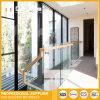 ステンレス鋼のバルコニーのガラス柵の木製の手すりパッチの適切な手すり