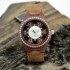 Reloj de madera del diamante del grano de Sun de la venda de Lether de la manera