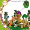 Equipamento ao ar livre do campo de jogos da combinação plástica e de madeira para a escola
