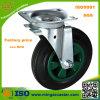 Roda de borracha preta resistente do rodízio do caixote de lixo 160mm