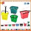 Panier portatif en plastique personnalisé coloré de supermarché de mémoire (Zhb99)