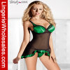 Verde con ropa interior atractiva de la ropa de noche Chiffon negra