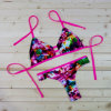 Reizvoller rosafarbener Blumen-Bikini-gesetzte Frauen drücken Badebekleidungs-Strappy unverschämten brasilianischen Badeanzug für billig hoch