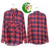 Chemise de coton Long-Sleeved du plaid rouge des femmes de mode (KVC09)