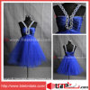 セクシーな宝石で飾られたホールターの結婚披露宴のガウンShort/Mini青いテュルのカクテルドレス(AS3344)
