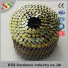 El precio competitivo galvanizó el clavo pintado amarillo de la bobina de la asta del anillo