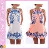 2016 nuovo Design Women Fashion Sweet Printing Blue e White Vest Dress