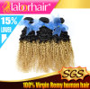 5A Fashion 브라질 Kinky Curl Ombre Human Hair Extension
