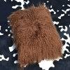 Il cuscino decorativo del Brown dell'agnello della pelliccia del coperchio mongolo reale dell'ammortizzatore copre i cuscini
