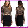2014 новое Style Long Sleeve сексуальное Ladies Black Lace Bandage Dress (e-537968-7)