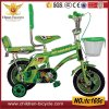 vélo vert de 16  gosses avec le doubles dos d'arrière, panier et roue de formation