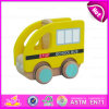 Kids、Children Style Toy Mini School Bus Toy、PullおよびPush Wood Toy School Bus W04A102のための2015幸せなPlay Yellow School Bus Toy