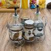 Fábrica Atacado de alta qualidade Oil Spice Storage garrafa de vidro em Rack (100007)