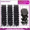 二重Weft方法100%年のバージンのペルーの深い波のRemyの未加工人間の毛髪(GP-PR-DEEP)