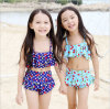 Maillot de bain bleu de mode de petites filles