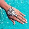 합금 금속 다채로운 다이아몬드 수정같은 모조 다이아몬드 링크 사슬 팔찌 형식 보석