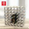 Estante del vino de los muebles de madera sólida de 42 botellas con los pedazos del metal