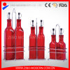 Tailles en verre en gros de variété de bouteille d'huile de cuisine avec la crémaillère en métal