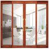 Алюминиевая нутряная декоративная стеклянная сползая входная дверь лоббиа с ручками