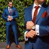 広いノッチの折りえり青いカラー結婚式のスーツ