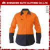 Orange fluorescente Women Work Shirt con Reflective Tape