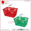 Panier à provisions en plastique de magasin de détail avec les poignées en métal (OW-BM004)