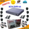 8 kanaal DVR Kit met CMOS 1000tvl Dome Camera