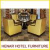 Mobília amarela do restaurante da folhosa ajustada/cadeira sofá do café