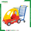 Carro de la carretilla de las compras del supermercado con el asiento del bebé