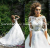 Vestidos de casamento Vestido das luvas do laço 3/4 dos vestidos de casamento do laço De Noiva W14905