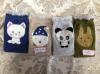 4つのカラー動物のヘッド刺繍のソックス