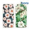 Cubierta suave de la caja de la flor floral negra clara para el iPhone 6s