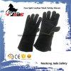 Guante industrial del trabajo de la soldadura de la seguridad de la mano del cuero genuino negro del zurriago