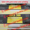 Escritura de la etiqueta con la impresión en color Deca 300 del metal del oro