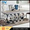 普及した大理石のステンレス鋼のダイニングテーブル