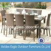 Positionnement dinant réglé de meubles synthétiques de rotin de jardin