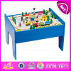 2015 el mejor Quality Kids Toy Railway Wooden Train Set, Hot Sale Wooden Block Train Toy Set, 60/S Wooden Train Set con Table W04D007
