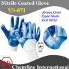 Джерси перчатка с голубой Нитриловое покрытие & Open Back & вязать наручные / EN388: 4221 / Размер 8 , 9, 10 , 11 (YS-071)