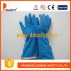Le diamant rayé par bande bleue de jet de latex saisissent les gants fonctionnants DHL426 de ménage perlé de manchette