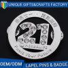 ラインストーンのダイヤモンドとのカスタム折りえりPinの記念品の金属のバッジ番号