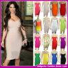 Venda por atacado 2014 sexy Strapless do vestido White/Rainbow da celebridade do vestido da atadura de Kim Kardashian Bodycon barato (B23363333)