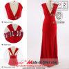 Платье вечера эластичной длины пола v-шеи A-line вышитый бисером (JL890)