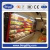 Escaparate abierto del congelador de la visualización del supermercado de la fruta vertical del congelador