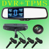 4.3 polegadas 1080P Car Rearview Mirror 2 Camera DVR +TPMS