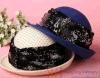 Grau/Blue Female Wool Felt Beret Hats für Women