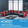 家具、Sofa、BlackおよびRed Sectional Leather Sofa