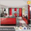 台所家具の赤く高い光沢のあるラッカー食器棚